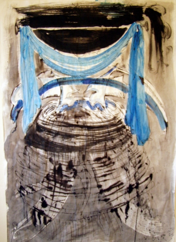 Textile Burst, ink and acrylic on paper, 34 by 22 in. Emilia Kallock 2005