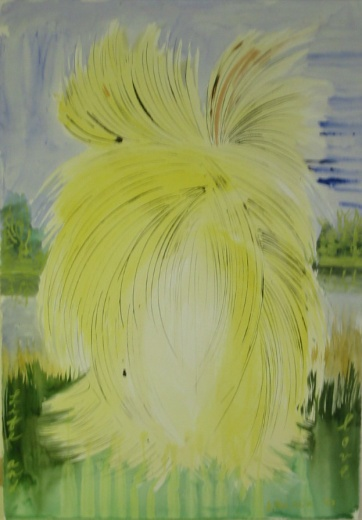 Yellow Burst, watercolor and ink on paper, 24 by 17 in. Emilia Kallock 2005