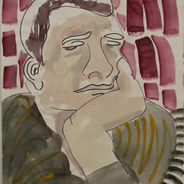 Pensive Sketch, watercolor and ink on paper, 24 by 18 in. Emilia kallock 2002