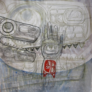 Butcher Paper Painting 3, acrylic and charcoal on butcher paper, 45 by 45 in. Emilia Kallock 2009
