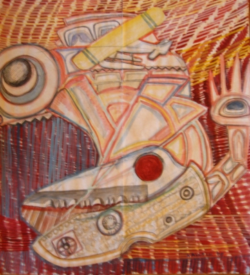 Butcher Paper Painting 4, acrylic on butcher paper, 45 by 45 in. Emilia Kallock 2009
