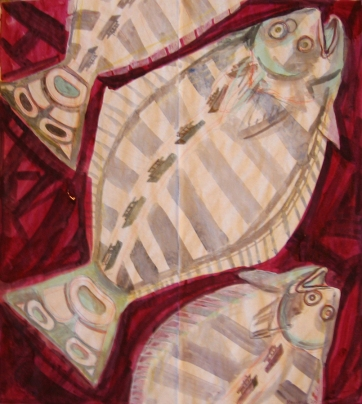 Butcher Paper Painting 5, acrylic on butcher paper, 45 by 45 in. Emilia Kallock 2009
