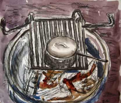 Campfire 1, watercolor on paper, 8 by 9 in. Emilia Kallock 2010