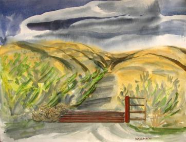 Cattlegaurd, watercolor on paper, 18 by 24 in. Emilia Kallock 2008