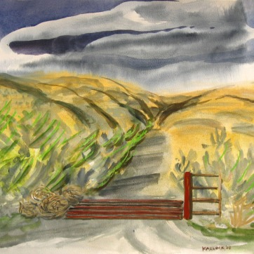 Cattlegaurd, watercolor on paper, 18 by 24 in. Emilia Kallock 2008