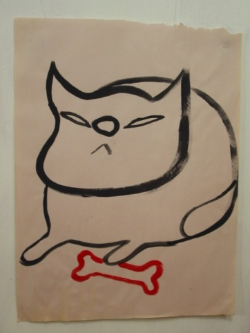Cat with Bone, acrylic on paper, 24 by 18 in. Emilia Kallock 2002