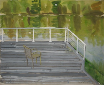 Chair on Deck, watercolor and gouache on paper, 12 by 14 in. Emilia Kallock 2006