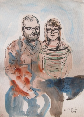 Chris and Erin Save The Date 1, watercolor on paper, 7 by 5 in. Emilia Kallock 2014