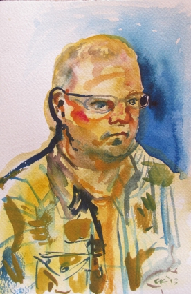 Chris, watercolor on paper, 6 by 4 in. Emilia Kallock 2014