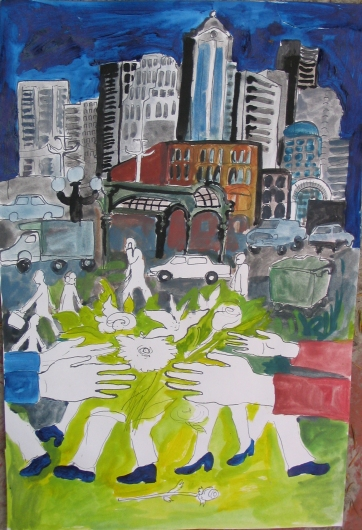 City Flowershop, watercolor on paper, 28 by 18 in. Emilia Kallock 2006