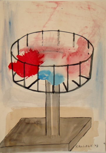 Color Holder, watercolor on paper, 27 by 16 in. Emilia Kallock 2003
