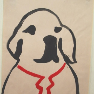 Dog and Tie, acrylic on newsprint, 24 by 18 in. Emilia Kallock 2002