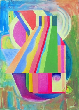 Cosmic Catcher 3, acrylic and oil on canvas, 34 by 23 in. emilia kallock 2014