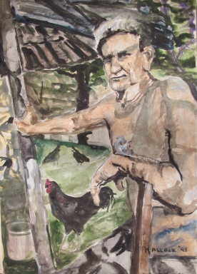 Cuban Farmer, watercolor on paper, 28 by 20 in. Emilia Kallock 1998