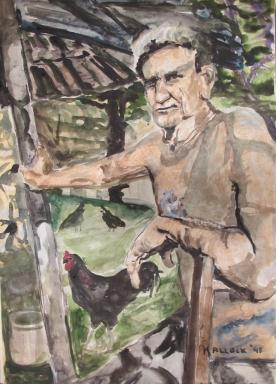 Cuban Farmer, watercolor on paper, 28 by 20 in. Emilia Kallock 1998