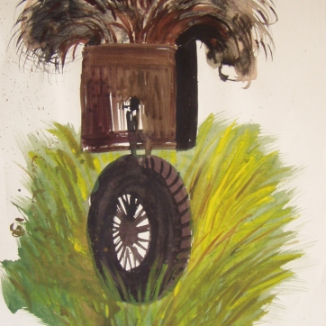 Dada Wheel 1, watercolor on paper, 20 by 12 in. Emilia Kallock 2004