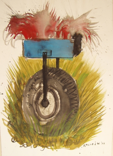 Dada Wheel 2, watercolor on paper, 20 by 12 in. Emilia Kallock 2004