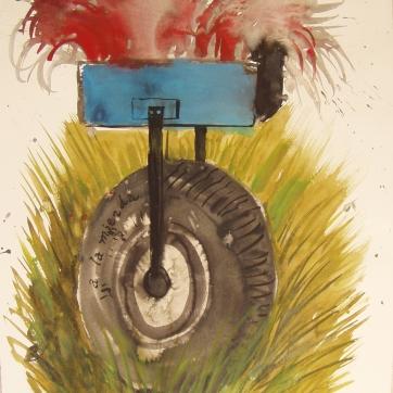Dada Wheel 2, watercolor on paper, 20 by 12 in. Emilia Kallock 2004