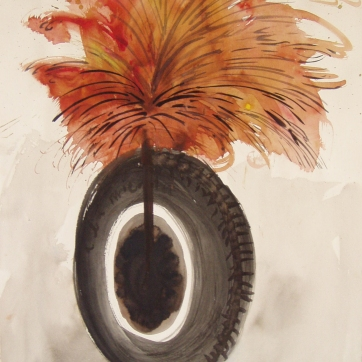 Dada Wheel 3, watercolor on paper 14 by 9 in. Emilia Kallock 2004