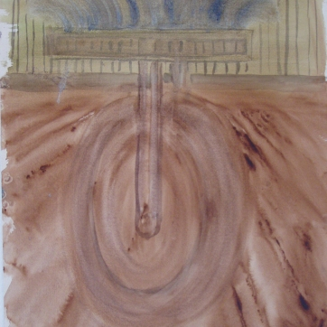 Dada Wheel 7, watercolor on paper, 14 b7 9 in. Emilia Kallock 2004