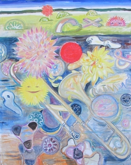 Dahlias and Landscape, oil on canvas, 50 by 42 in. Emilia Kallock 2014