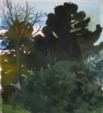 Dark Trees 1, watercolor on paper, 12 by 12 in. Emilia Kallock 2006