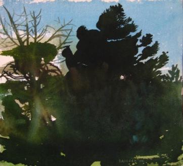 Dark Trees 3, watercolor on paper, 12 by 12 in. Emilia Kallock 2006