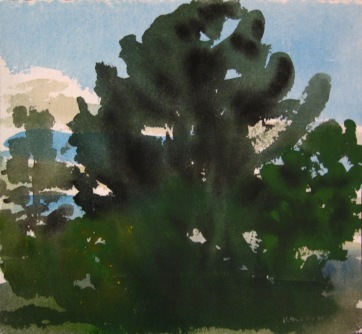 Dark Trees 4, watercolor on paper, 12 by 12 in. Emilia Kallock 2006