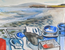 Diveboat Study 2, watercolor on paper, 5 by 6 in. Emilia Kallock 2012