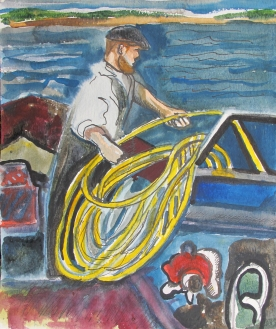 Diveboat Study 3, watercolor on paper, 8 by 6 in. Emilia Kallock 2012