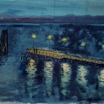 Dock at Night, watercolor on paper, 12 by 20 in. Emilia Kallock 2006
