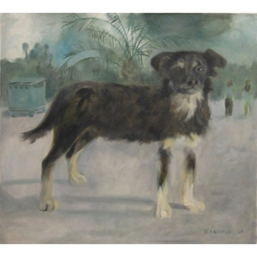 Havana Dog, oil on canvas, 16 by 22 in. Emilia Kallock 2003