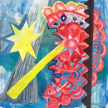 Doily Heart, acrylic on paper, 36 by 28 in. Emilia Kallock 2008