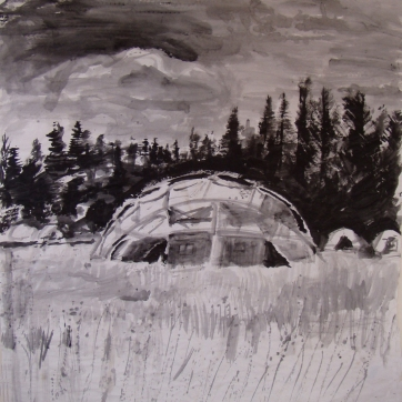 Dome Dwelling, acrylic on paper, 45 by 45 in. Emilia Kallock 2004