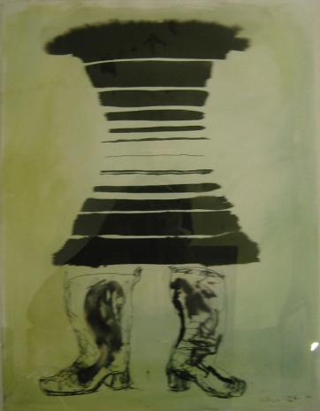 Dress and Boots, watercolor on paper, 24 by 16 in. Emilia Kallock 2002