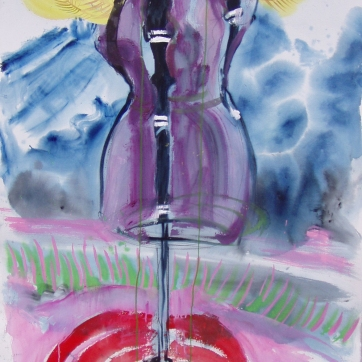 Dress Form and Mountain, watercolor and acrylic on paper, 60 by 45 in. Emilia Kallock 2004