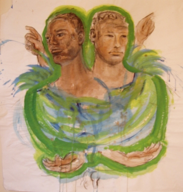 Duo In Green, watercolor and charcoal on paper, 45 by 45 in. Emilia Kallock 2004