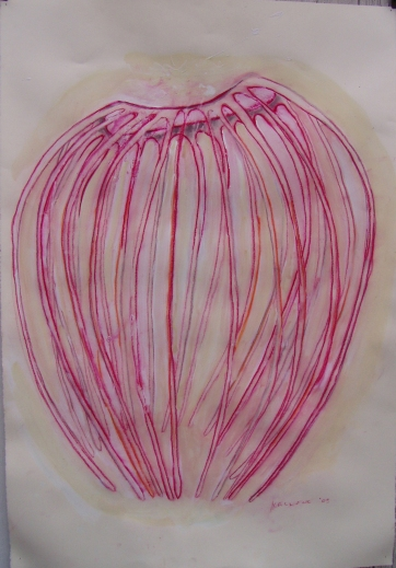 Gazebo-Elizabeth's, acrylic on paper, 35 by 22 in. Emilia Kallock 2003