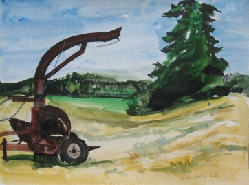 Farm Machinery, watercolor on paper, 18 by 24 in. Emilia Kallcok 2008