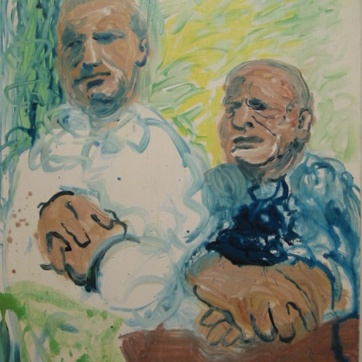 Father and Son, oil on board, 30 by 19 in. Emilia Kallock 2002