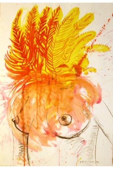 Burst-Femenina, acrylic and charcoal on paper, 45 by 30 in. Emilia Kallock 2003