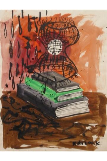 Femenina and Rain, watercolor on paper, 24 by 17 in. Emilia Kallock 2003