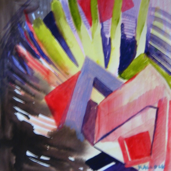 Composition Study 1, watercolor on paper, 7 by 4.5 in. Emilia Kallock, 2011