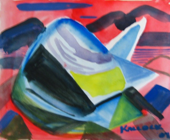 Composition Study 2, watercolor on paper, 6 by 7 in. Emilia Kallock 2011