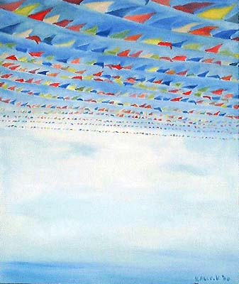 Flags, oil on canvas, 54 by 42 in. Emilia Kallock 2002