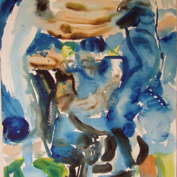 Football, watercolor on paper, 24 by 18 in. Emilia Kallock 2003