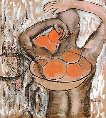 Fruit and Back, acrylic and charcoal on paper, 45 by 40 in. Emilia Kallock 2002