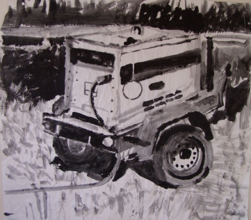 Generator, acrylic on paper, 45 by 45 in. Emilia Kallock 2004