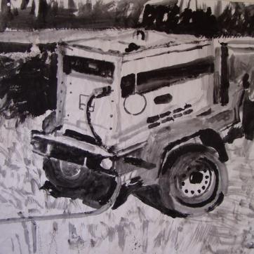 Generator, acrylic on paper, 45 by 45 in. Emilia Kallock 2004