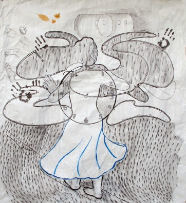 Girl and Clock, ink on meat packing paper, 59 by 53 in. Emilia Kallock 2013